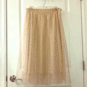 Cream Polka Dot Tulle Skirt